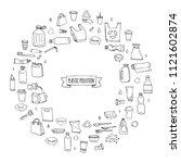 hand drawn doodle stop plastic... | Shutterstock .eps vector #1121602874
