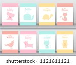 set of baby shower invitations... | Shutterstock .eps vector #1121611121