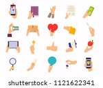 hands in different poses. mix... | Shutterstock .eps vector #1121622341