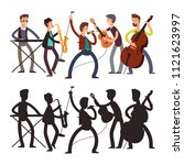 male pop music band playing... | Shutterstock .eps vector #1121623997