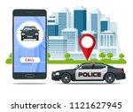 call police app on smartphone... | Shutterstock .eps vector #1121627945