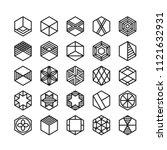 hexagon geometric vector icon   ...   Shutterstock .eps vector #1121632931
