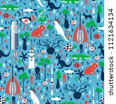 seamless vector cartoon pattern ... | Shutterstock .eps vector #1121634134