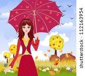 girl with umbrella in autumn... | Shutterstock .eps vector #112163954