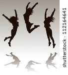 jumping silhouettes   Shutterstock .eps vector #112164641