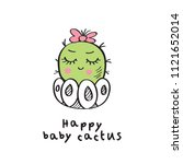 card with hand drawn cute baby... | Shutterstock . vector #1121652014