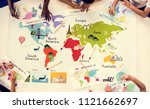 kids studying geography in... | Shutterstock . vector #1121662697