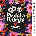 skulls and text  in the floral... | Shutterstock .eps vector #1121713424