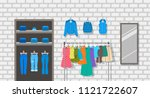 women clothes store indoor... | Shutterstock .eps vector #1121722607