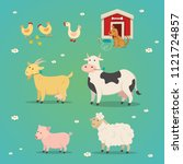 set of farm animals in a flat... | Shutterstock .eps vector #1121724857