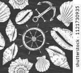 hand drawn nautical seamless... | Shutterstock .eps vector #1121730935