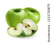 green apple on white background | Shutterstock . vector #1121733875