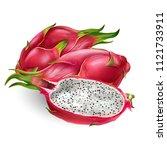 dragon fruit on white background | Shutterstock . vector #1121733911