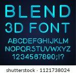 3d alphabet. vector set of... | Shutterstock .eps vector #1121738024