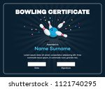 modern bowling certificate with ... | Shutterstock .eps vector #1121740295