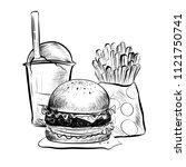 raster version. big hamburger... | Shutterstock . vector #1121750741