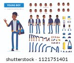 young  african american  boy or ... | Shutterstock . vector #1121751401