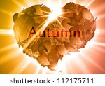 autumn leaf heart eps10 vector... | Shutterstock .eps vector #112175711
