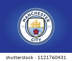 manchester city flag blue... | Shutterstock .eps vector #1121760431