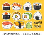 hand drawn various kawaii sushi ... | Shutterstock .eps vector #1121765261