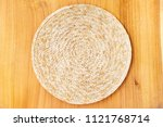 served table setting with round ... | Shutterstock . vector #1121768714