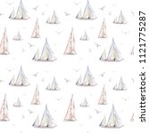 watercolor nautical seamless... | Shutterstock . vector #1121775287