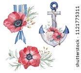 watercolor floral set. floral... | Shutterstock . vector #1121775311