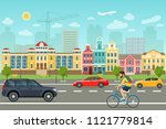 city life set with cars  road... | Shutterstock .eps vector #1121779814