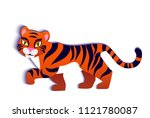 tiger  vector flat illustration ... | Shutterstock .eps vector #1121780087