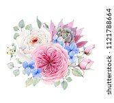 handpainted watercolor flowers... | Shutterstock . vector #1121788664