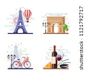 travel to paris vector flat... | Shutterstock .eps vector #1121792717