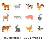 farm animal icon set. cow hen...   Shutterstock .eps vector #1121798651