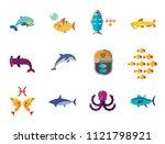 fish icon set. pieces octopus... | Shutterstock .eps vector #1121798921