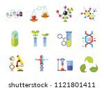 biology icon set. cell... | Shutterstock .eps vector #1121801411