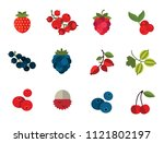 berry icon set. cranberry black ... | Shutterstock .eps vector #1121802197