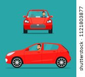 red hatchback car two angle set....   Shutterstock .eps vector #1121803877