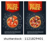 menu fastfood flyer with pizza... | Shutterstock .eps vector #1121829401