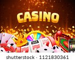 casino dice banner signboard on ... | Shutterstock .eps vector #1121830361