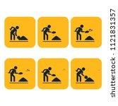 digging man. illustration of... | Shutterstock . vector #1121831357