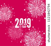 creative happy new year 2019... | Shutterstock .eps vector #1121842754