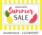 summer sale colorful background.... | Shutterstock .eps vector #1121845307
