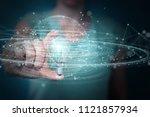 businesswoman on blurred... | Shutterstock . vector #1121857934