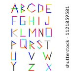 pencil texture cartoon alphabet ... | Shutterstock .eps vector #1121859581