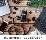 top view of work space... | Shutterstock . vector #1121873597