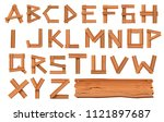 alphabet made of wooden letters ... | Shutterstock . vector #1121897687