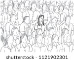 the woman is smiling along with ... | Shutterstock .eps vector #1121902301
