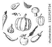 hand drawn set of vegeterian...   Shutterstock .eps vector #1121919734
