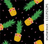 pineapple with sunglasses...   Shutterstock .eps vector #1121921291