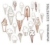 hand drawn ice cream  set.... | Shutterstock .eps vector #1121927501