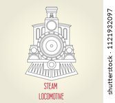 old steam locomotive front view ... | Shutterstock .eps vector #1121932097
